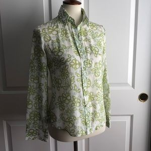 Theory Fitted Cotton Button Down Floral Shirt S